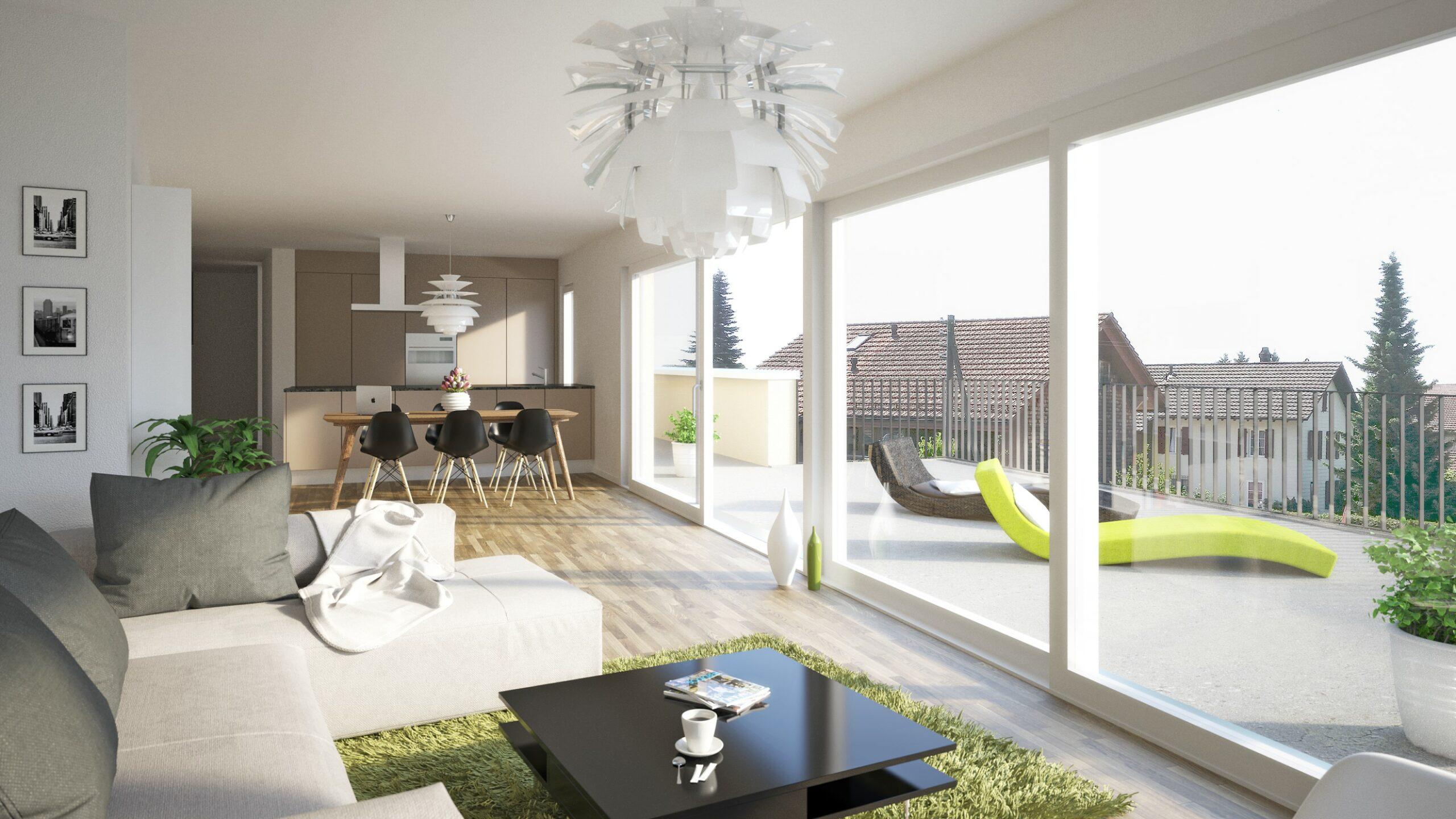 Visualisierung Wohnzimmer Mehrfamilienhaus Stampfli Wicki AG