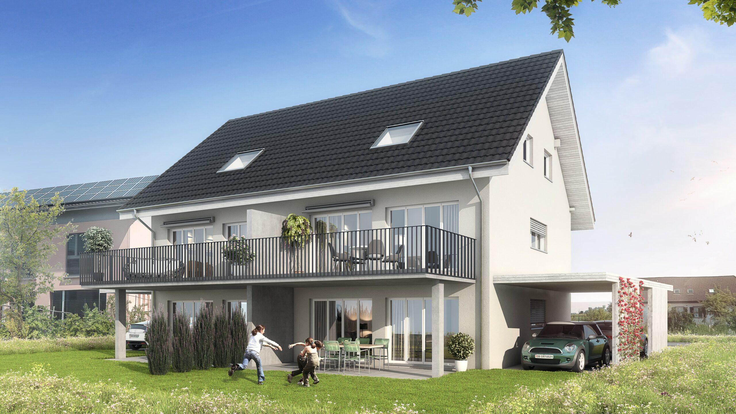Visualisierung Doppeleinfamilienhaus Stampfli Wicki AG