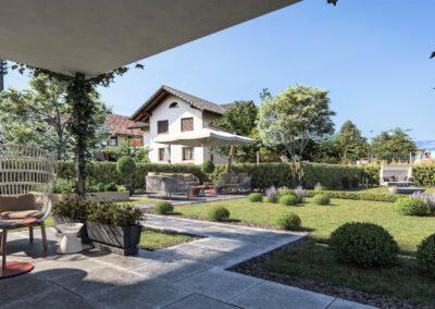 Visualisierung Garten Mehrfamilienhaus Stampfli Wicki AG