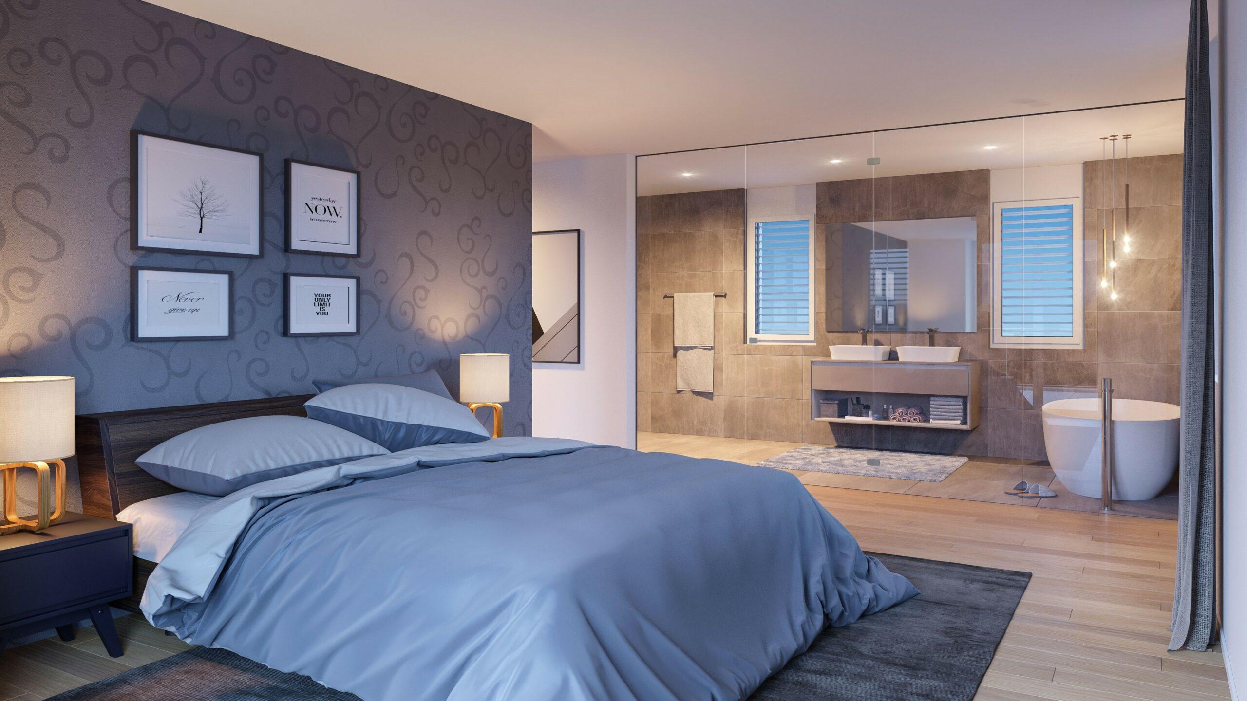 Visualisierung Schlaf- und Badezimmer Mehrfamilienhaus Stampfli Wicki AG
